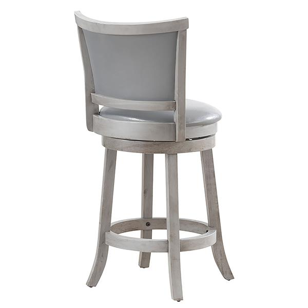 WHI Swivel Counter Stool  -Grey/Silver Faux Leather - Set of 2