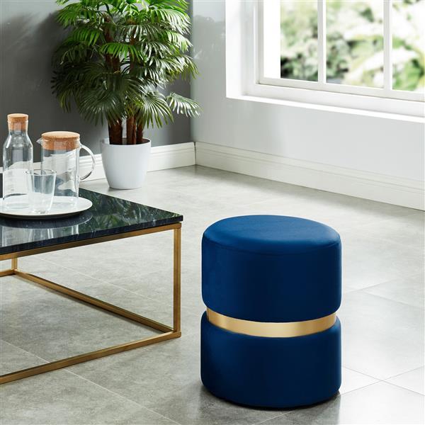 Nspire Round Velvet Ottoman 14 25 In Blue Gold 402 507blu Rona