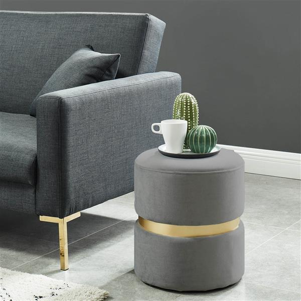 !nspire Round Velvet Ottoman - 14.25-in - Grey/Gold