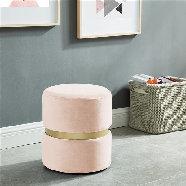 !nspire Round Velvet Ottoman - 14.25-in - Pink/Gold