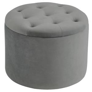 !nspire Button Tufted Velvet Ottoman with Storage - 19,75-in - Grey