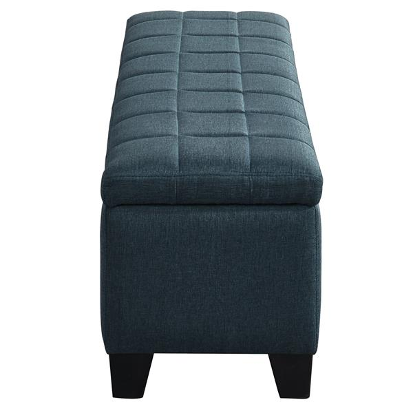 WHI Bench Ottoman with Storage - Fabric Grey/Blue - 48-in