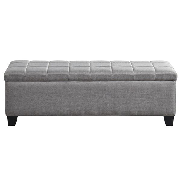 WHI Bench Ottoman with Storage - Fabric Grey - 48""