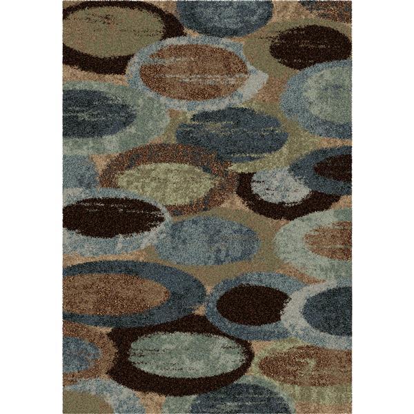 "Tapis « Skipping Pebbles », 90"", polypropylène, bleu/brun"