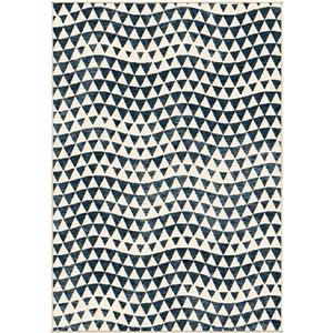 """Tapis « Diamond », 94"""" x 130"""", polypropylène, bleu/crème"""