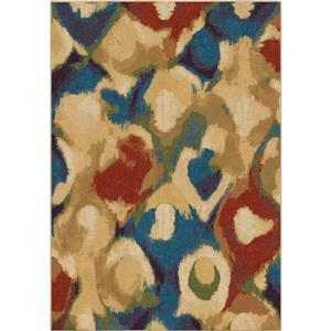 """Tapis « Wild Oats », 94"""" x 130"""", polypropylène, beige/bleu"""
