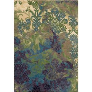 """Tapis « Deep Sea », 63"""" x 90"""", polypropylène, vert/bleu"""