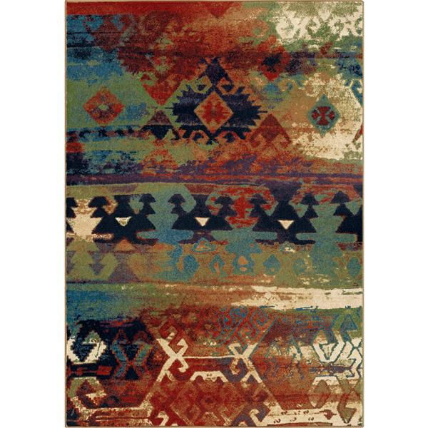 Orian Rugs Mayan Rug - 94-in x 130-in - Polypropylene - Red/Blue