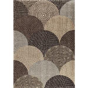 """Tapis « Fielded », 94"""" x 130"""", polypropylène, beige/brun"""