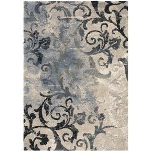 """Tapis floral « Distressed », 130"""", polypropylène, bleu/beige"""