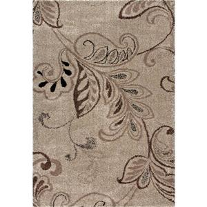 Orian Rugs Loose Leaf Rug - 63-in x 90-in - Polypropylene - Beige/Brown