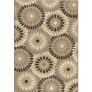 "Tapis « Bursting Circles », 90"", polypropylène, beige/brun"