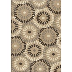 """Tapis « Bursting Circles », 130"""", polypropylène, beige/brun"""