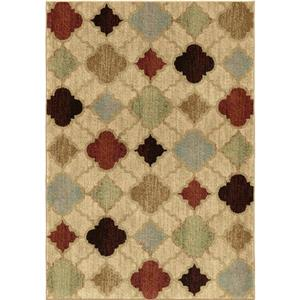 "Tapis « Multi Diamonds », 90"", polypropylène, beige/rouge"