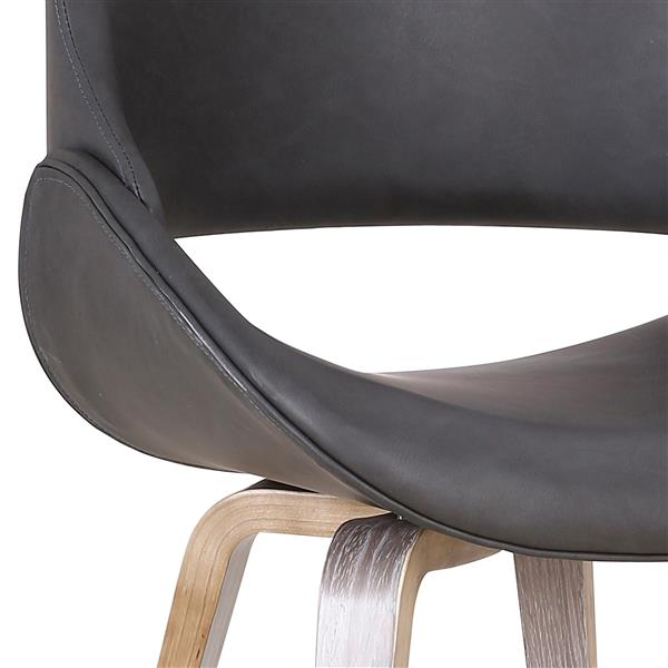 !nspire Mid-Century Accent Chair - 32.25-in - Charcoal Grey Faux Leather