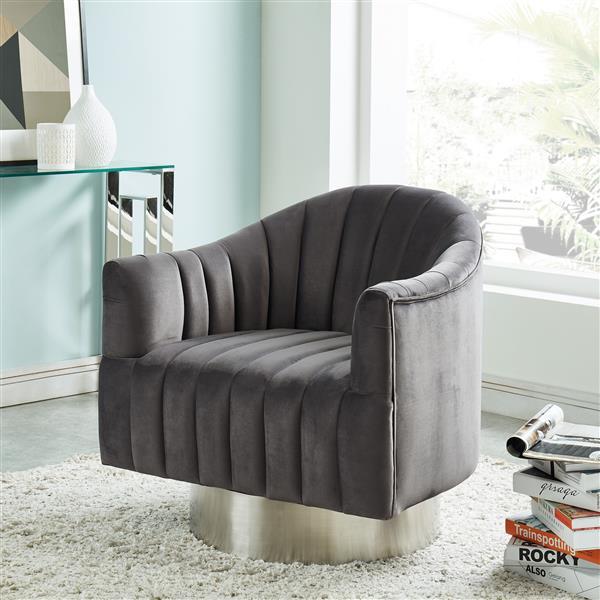 !nspire Swivel Accent Chair - Stainless Base - 30.75-in - Dark Grey Velvet