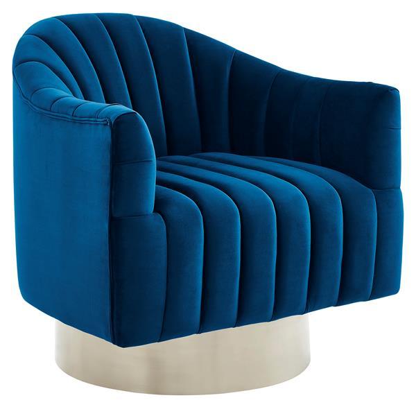 !nspire Swivel Accent Chair - Stainless Base - 30.75-in - Blue Velvet