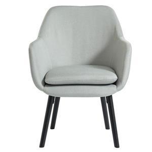 Chaise d'appoint en tissu gris clair, pattes de bois noir