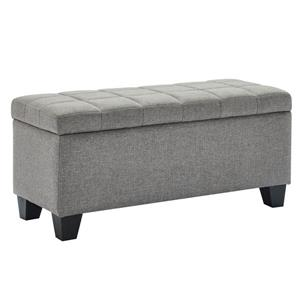 "WHI Fabric Storage Ottoman - Grey - 35.50"" x 14"""