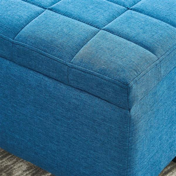 "WHI Storage Ottoman - Blue - 35.50"" x 14"""