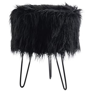 !nspire Faux Fur Ottoman - Black - 14.5