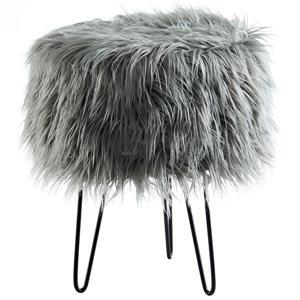 """!nspire Faux Fur Ottoman - Grey - 14.5"""""""