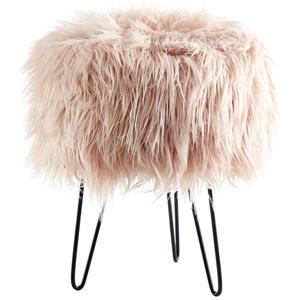 !nspire Faux Fur Ottoman - Pink - 14.5