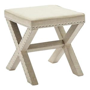 Upholstered Single Bench with Stud Detail - Beige