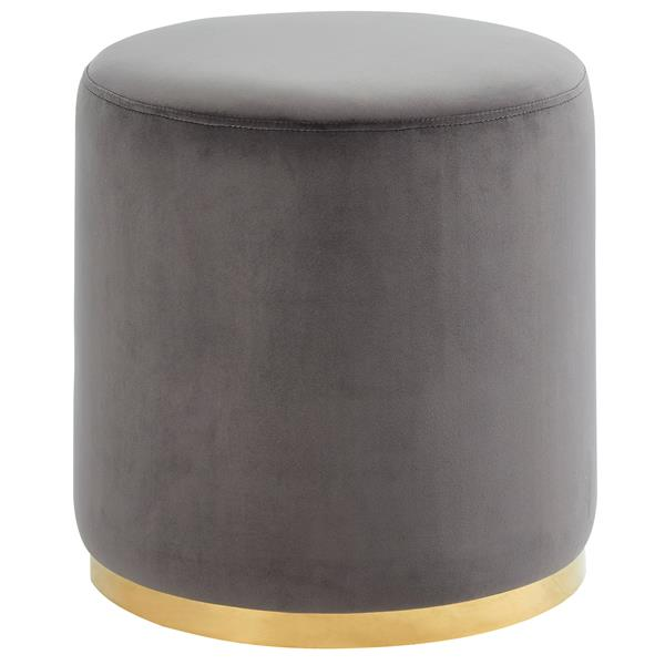 !nspire Ottoman with Gold Base - 18-in - Grey