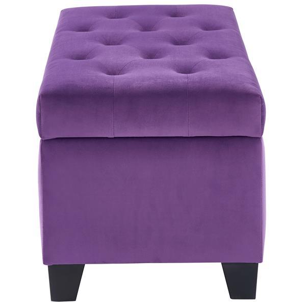 !nspire Velvet Tufted Storage Ottoman - 36-inx 18-in - Purple