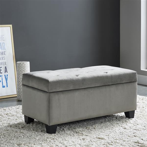 !nspire Velvet Tufted Storage Ottoman - 36-inx 18 - Grey