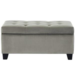 !nspire Velvet Tufted Storage Ottoman - 36-inx 18 - Grey