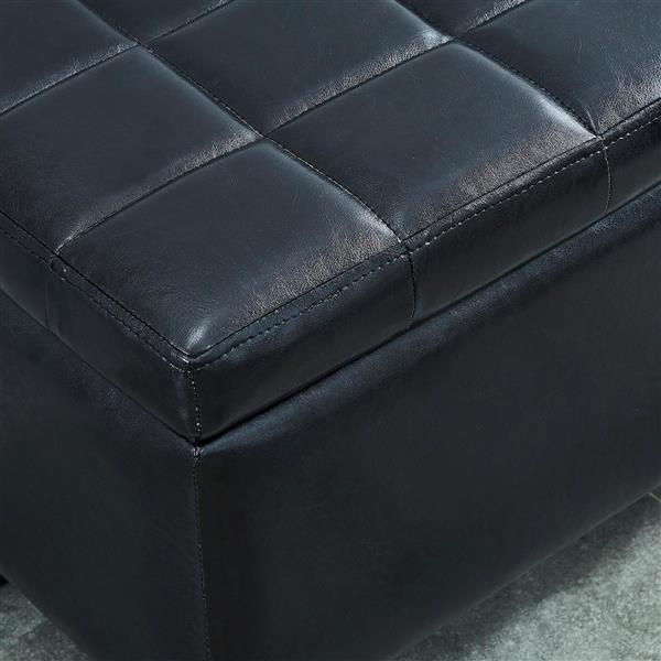 WHI Faux Leather Storage Ottoman - Black - 35.5-in x  14-in