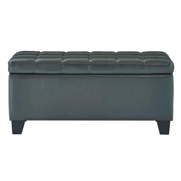 WHI Faux Leather Storage Ottoman - Grey - 35.5-in x  14-in