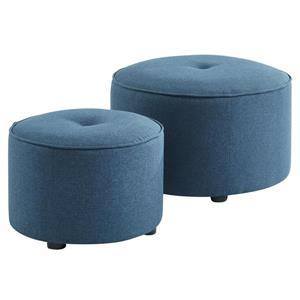 Ottomane / Pouf en tissu bleu, ensemble de 2