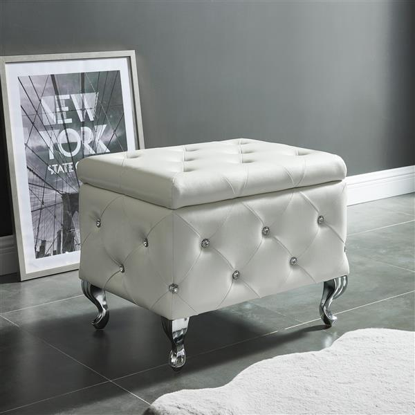 Tremendous Nspire Faux Leather Storage Bench With Crystals 21 75 In Bralicious Painted Fabric Chair Ideas Braliciousco