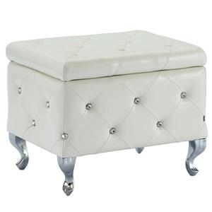 !nspire Faux Leather Storage Bench with Crystals, White