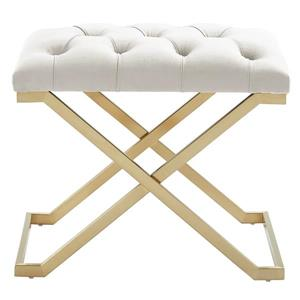 !nspire Velvet and Steel Decorative Bench - 22-in - Ivory/Gold