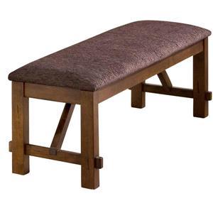 Banc double WHI, bois massif et similicuir brun, 60