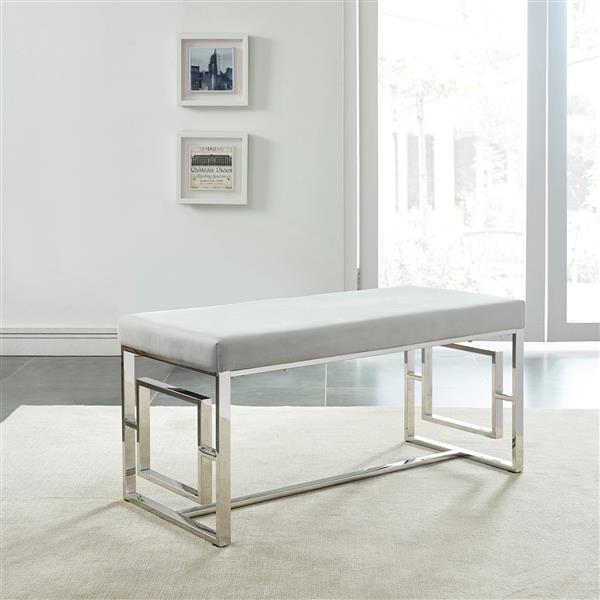 !nspire Velvet Decorative Bench - 39-in - Grey/Chrome