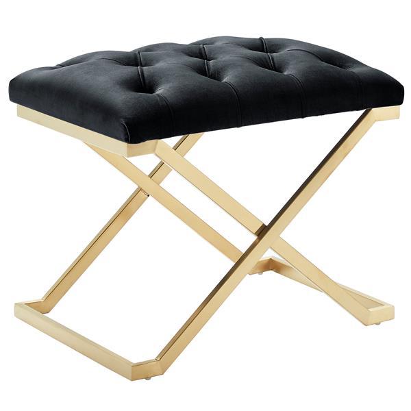 !nspire Velvet and Steel Decorative Bench - 22-in - Black/Gold