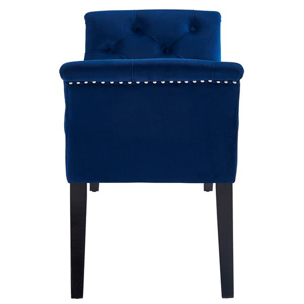 !nspire Velvet Tufted Bench with Stud Detail - 49-in - Blue