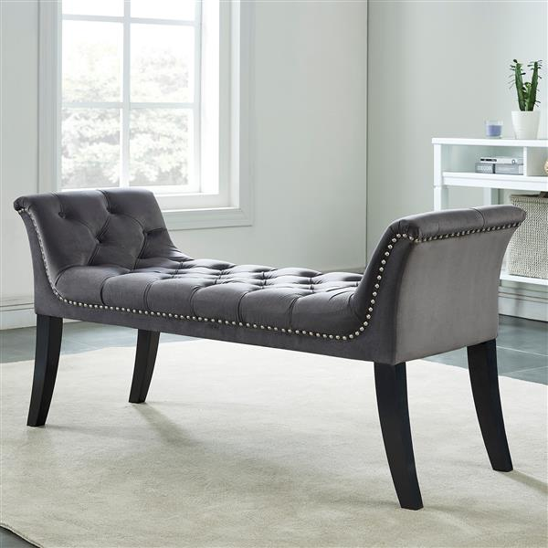 !nspire Velvet Tufted Bench with Stud Detail - 49-in - Grey