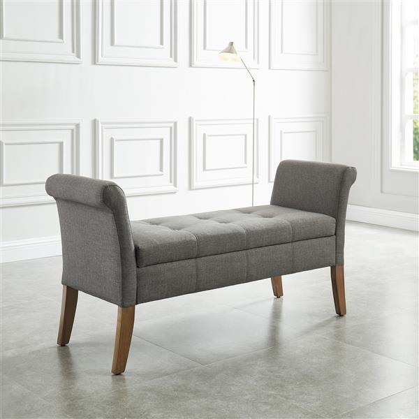 """WHI Storage Bench - Grey Fabric - 54""""L x 17.75""""W"""