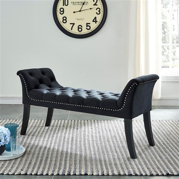 !nspire Velvet Tufted Bench with Stud Detail - 49-in - Black