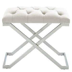 !nspire Velvet and Steel Decorative Bench - 22-in - Ivory/Silver
