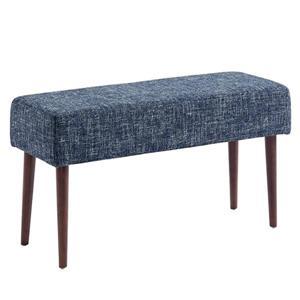 """Banc WHI de style moderne de mi-siècle, tissu bleu, 31.5"""""""