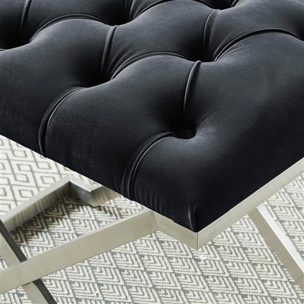 !nspire Velvet and Steel Decorative Bench - 22-in - Black/Silver