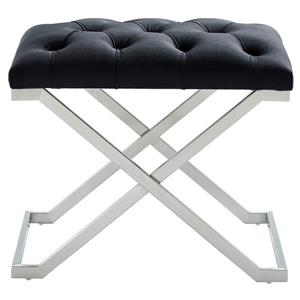 !nspire Velvet and Steel Decorative Bench - 22-in - Black/Silver