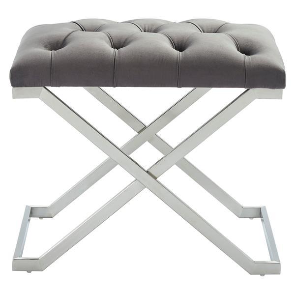 !nspire Velvet and Steel Decorative Bench - 22-in - Grey/Silver